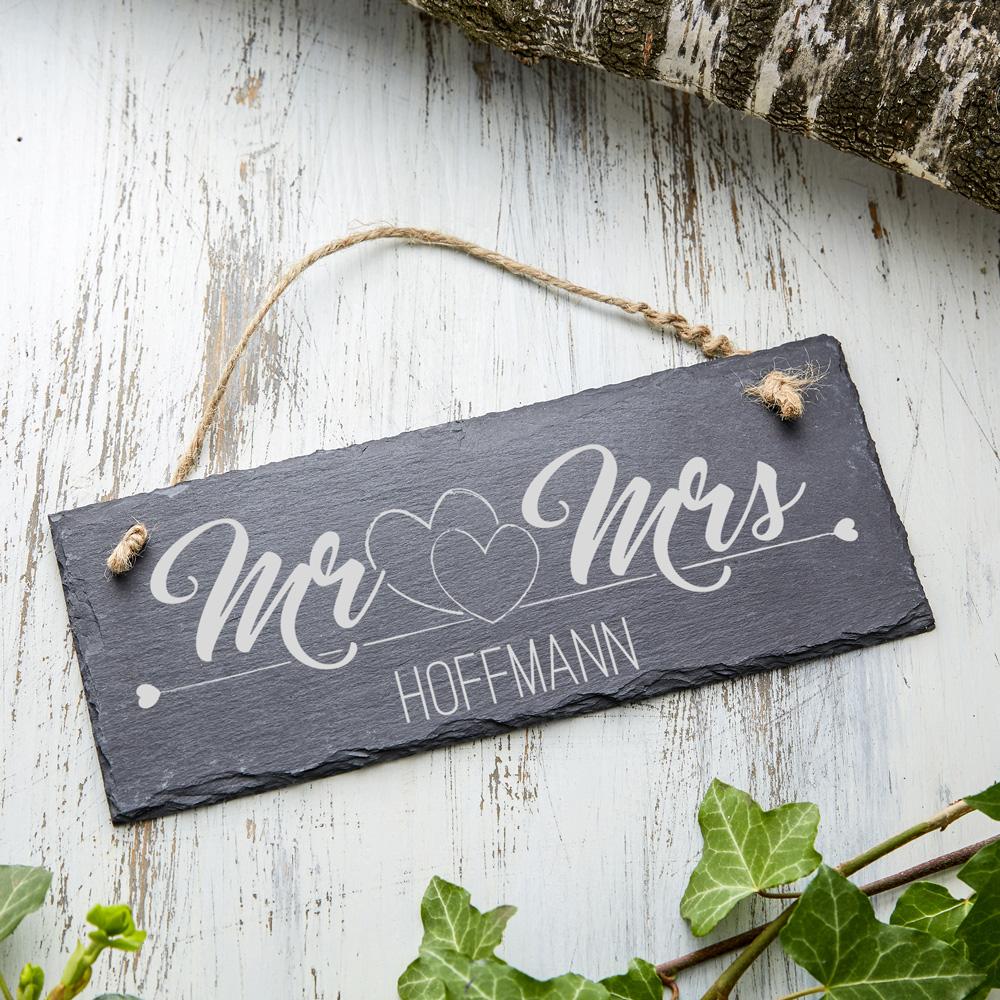 Schiefertafel mit Gravur Mr Mrs - Schieferplatte - Personalisiert