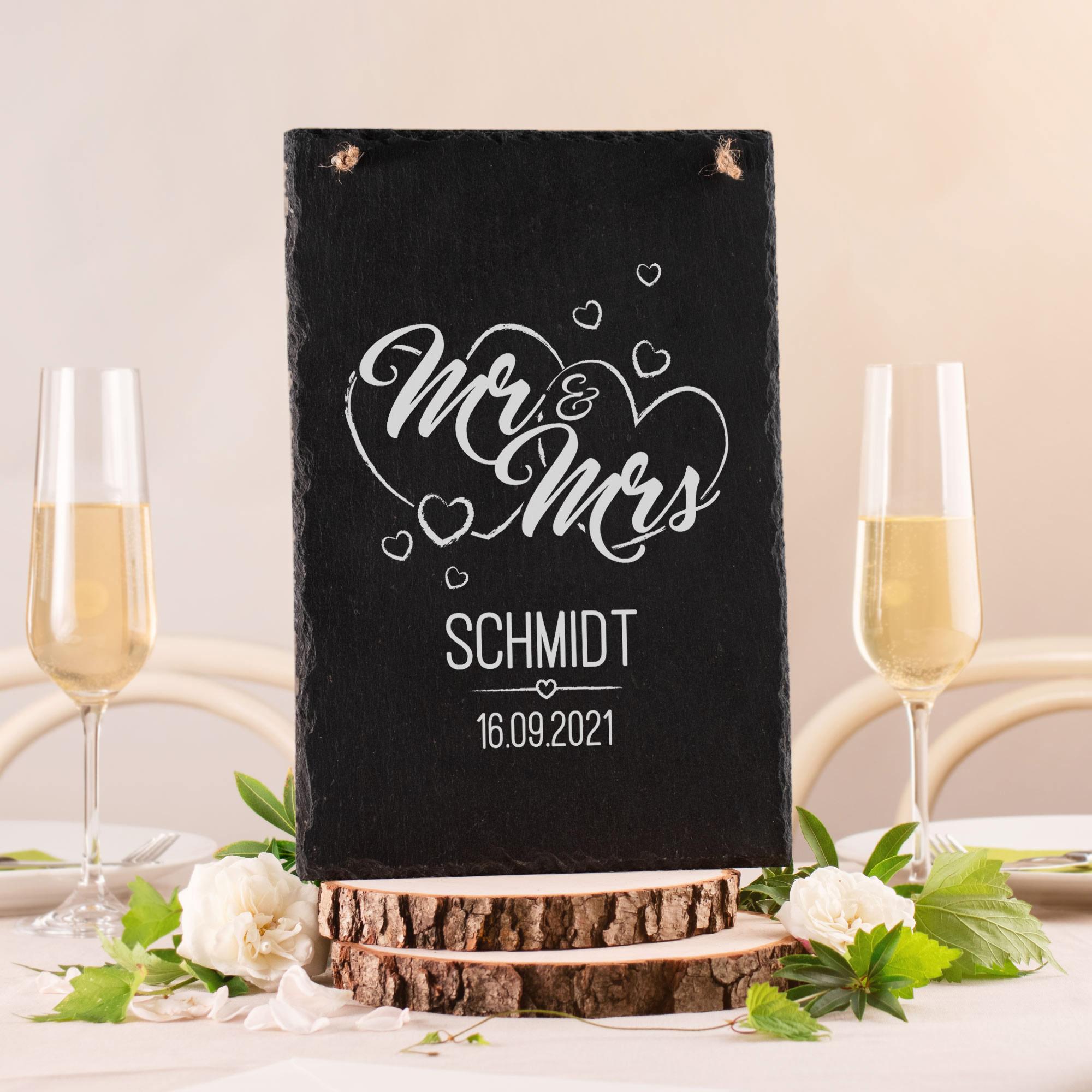 Personalisierte Schiefertafel mit Gravur Mr & Mrs - Groß