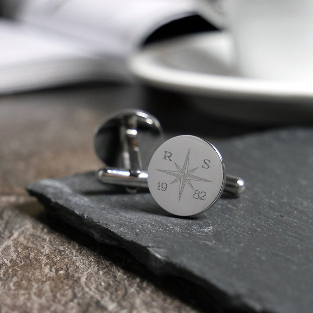 Manschettenknöpfe mit Gravur - Kompass - Rund - Silber