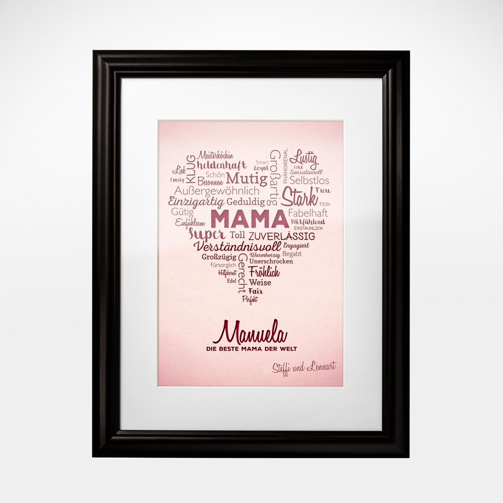 Wortwolke Herz für Mama - Personalisiert - Ihre Namen im Bild