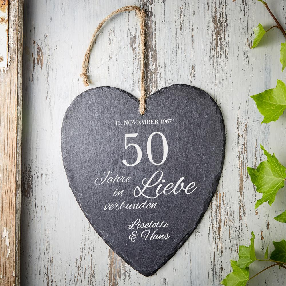 Schieferherz zur Goldenen Hochzeit - Personalisiert