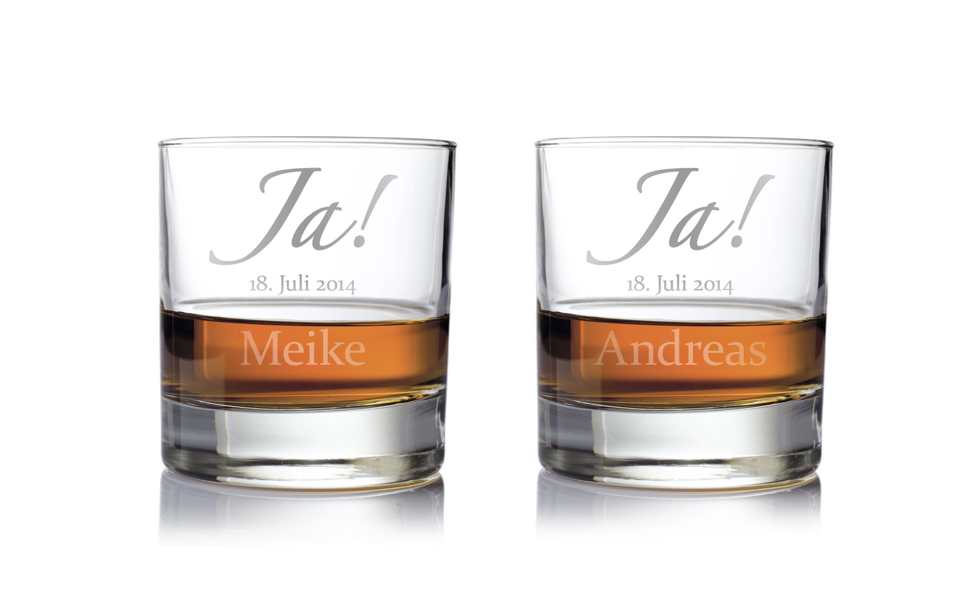 Whiskygläser mit Gravur zur Hochzeit - Ja
