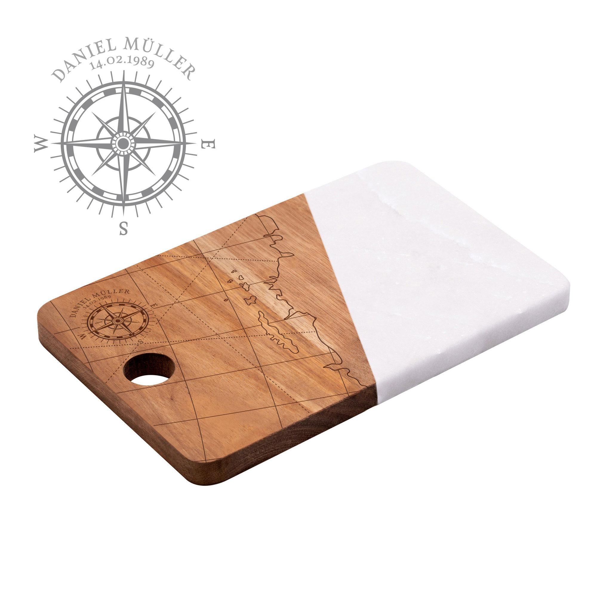 Servierbrett Marmor mit personalisierter Gravur - Kompass