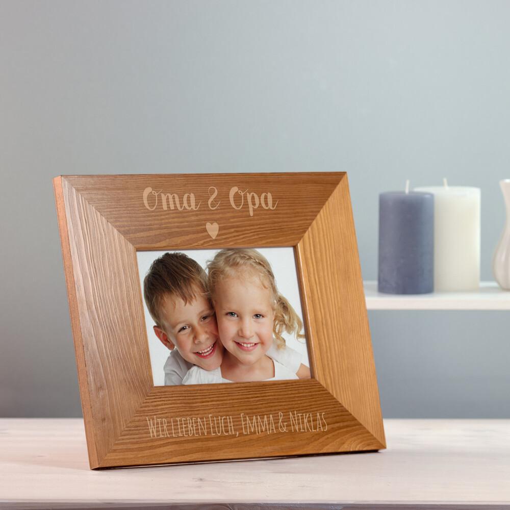 Bilderrahmen aus Holz mit Gravur für Oma und Opa - Herz - Personalisiert