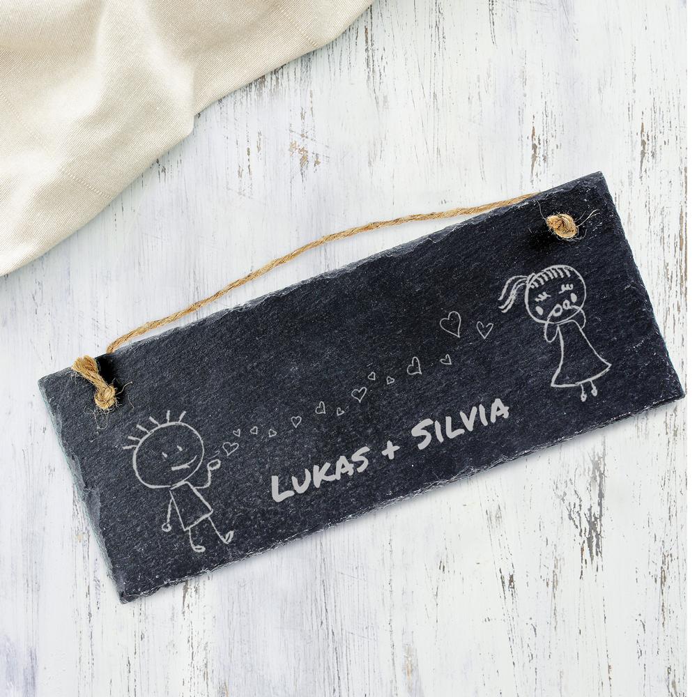 Schieferschild mit Gravur Pärchen - Schieferplatte - Personalisiert