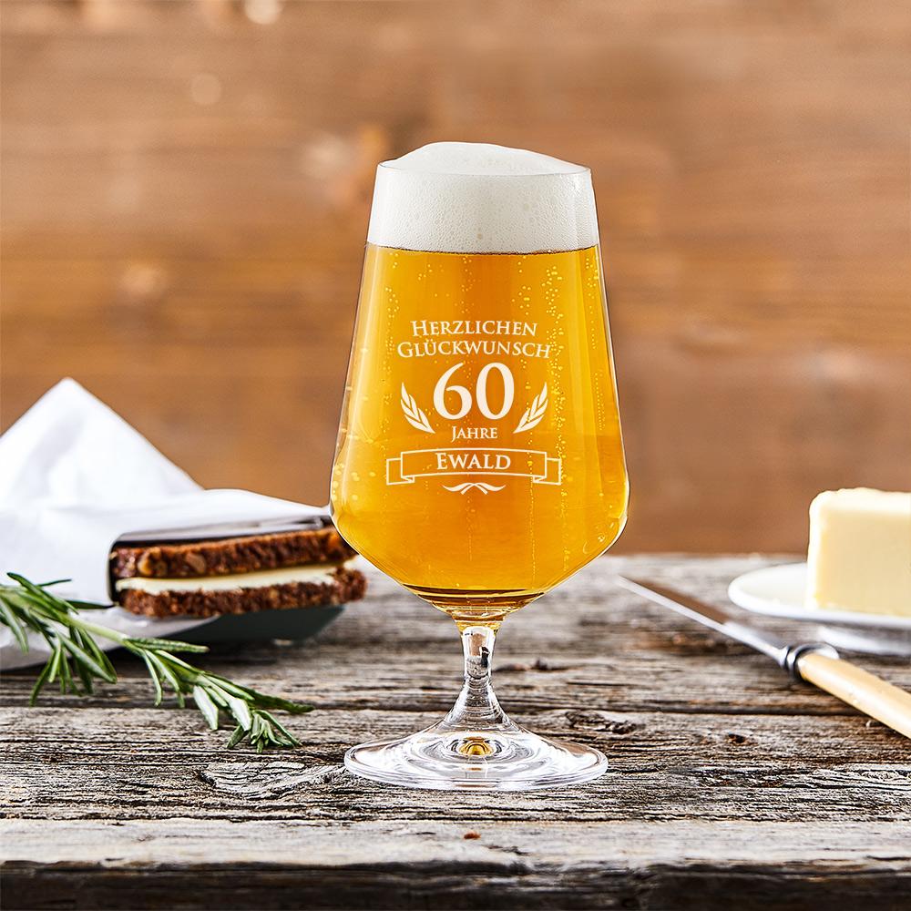Bierglas mit Gravur - 60. Geburtstag - Pilstulpe - Personalisiert