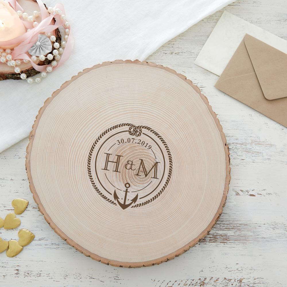 Riesen Baumscheibe mit Gravur - Initialen Anker und Knoten - Personalisiert