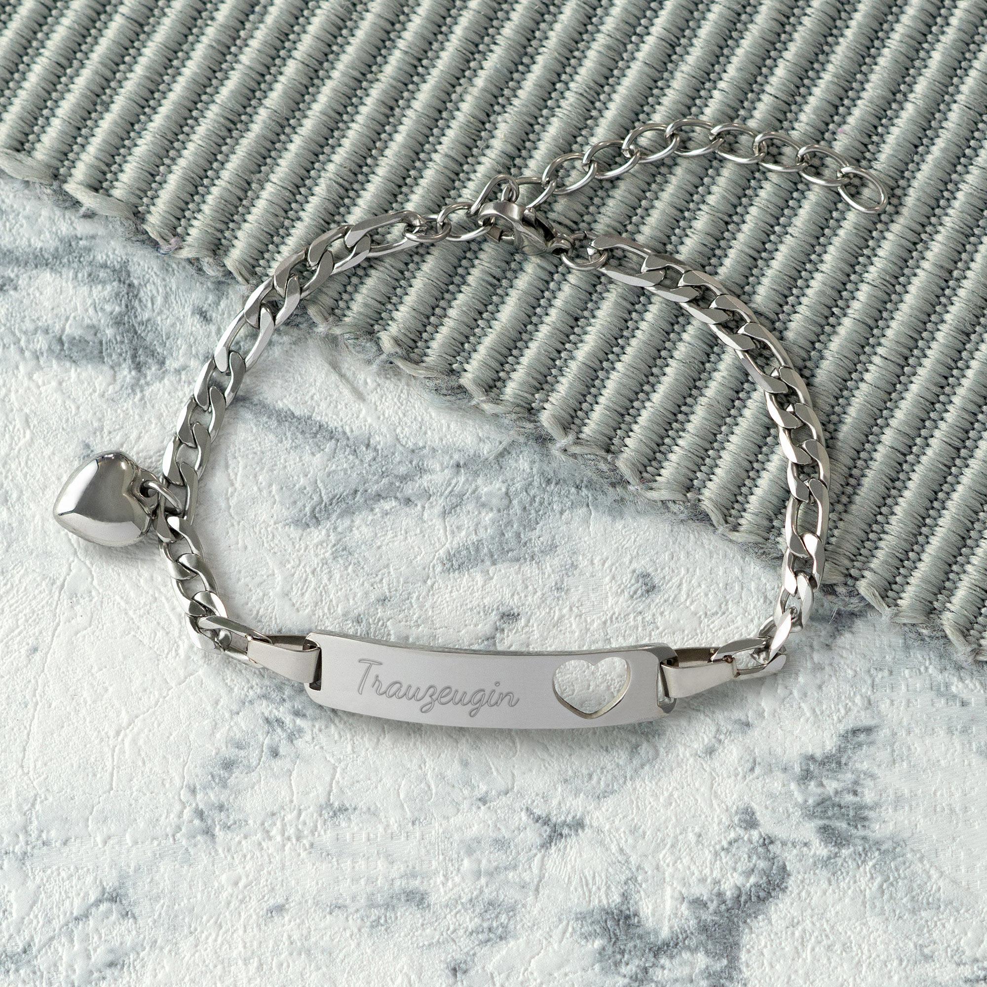 Armband Herzstanze in Silber mit Trauzeugin Gravur