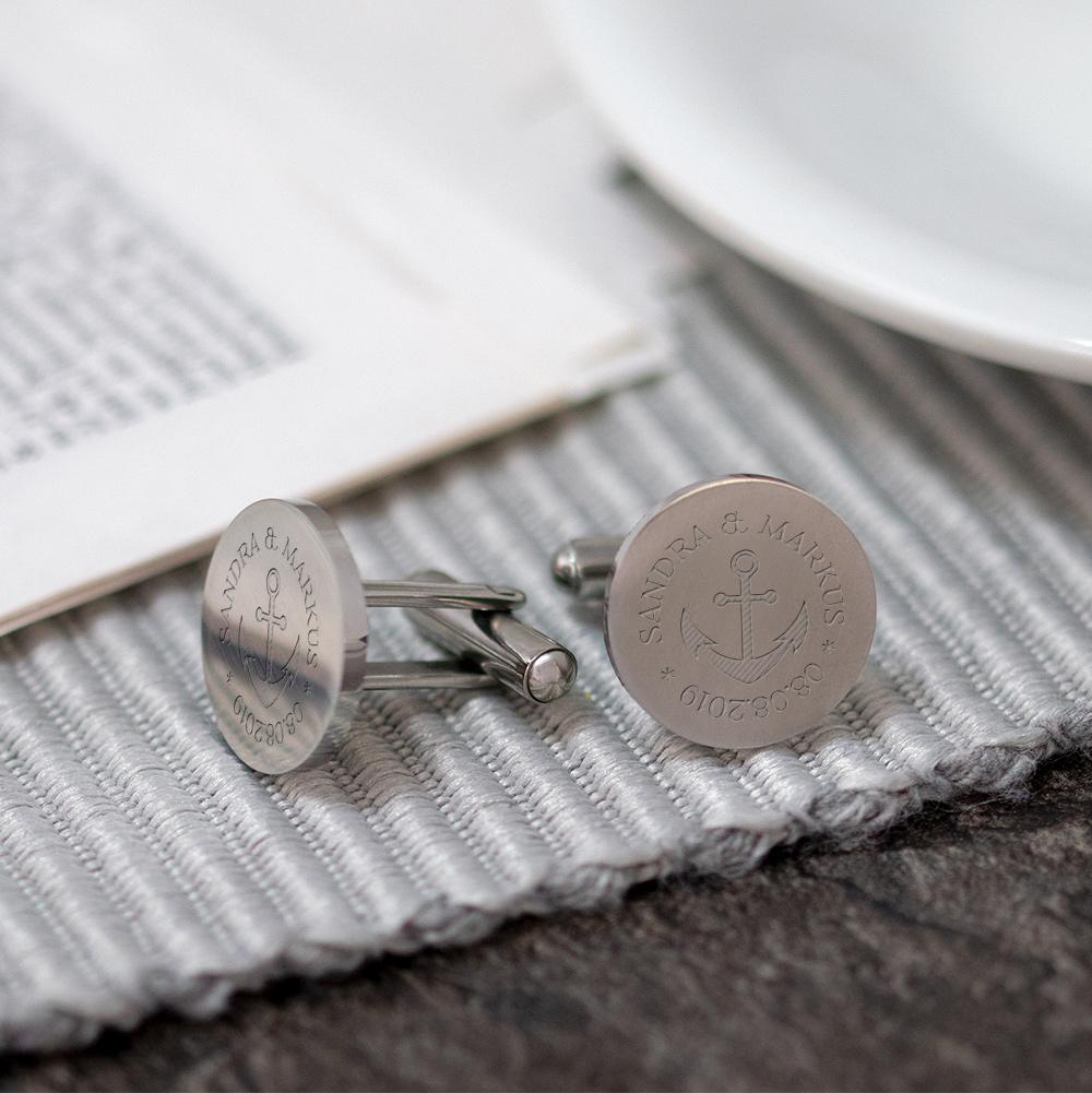Runde Manschettenknöpfe mit Gravur zur Hochzeit - Anker - Silber