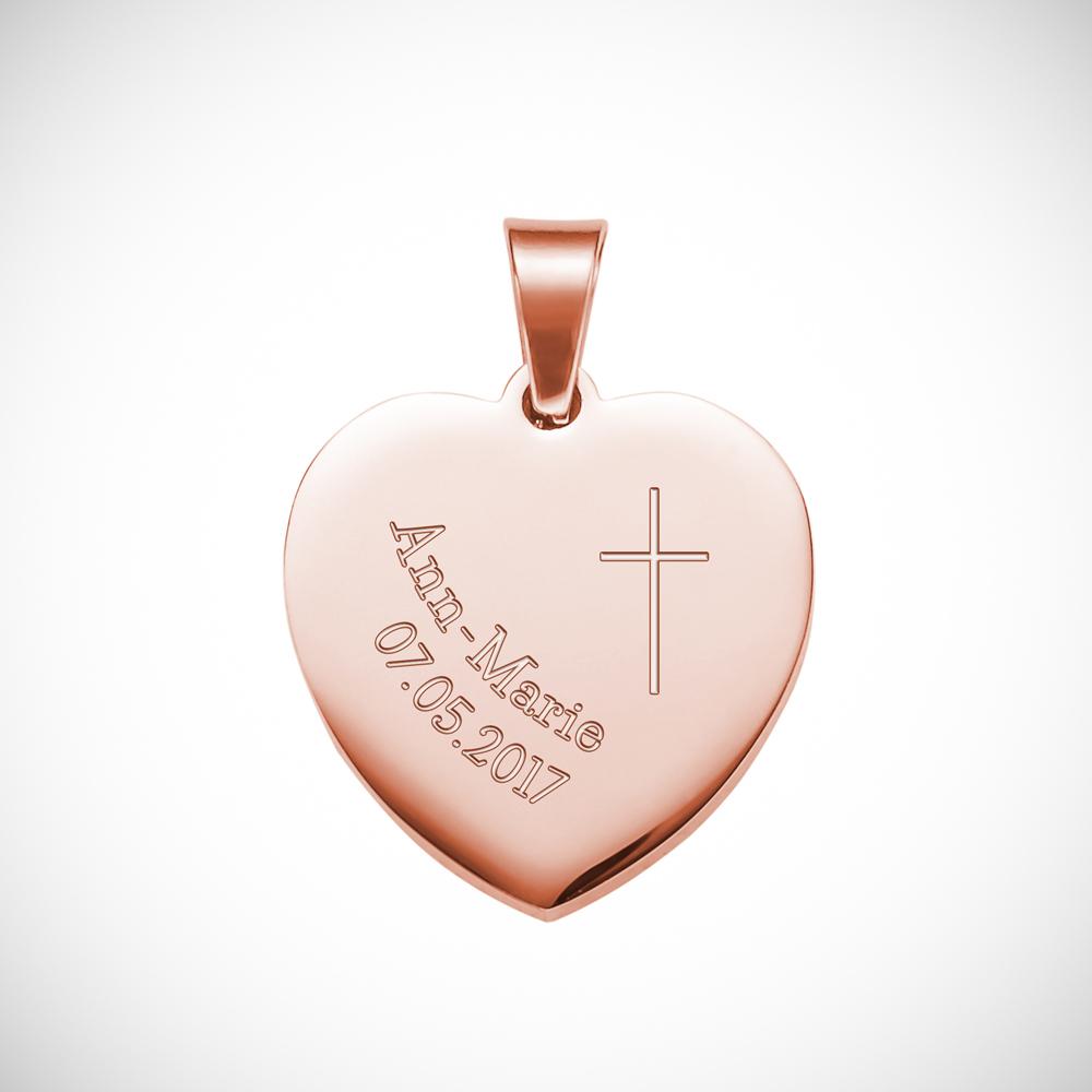 Herz Anhänger Kette mit Gravur - Roségold - Kreuz - Personalisiert