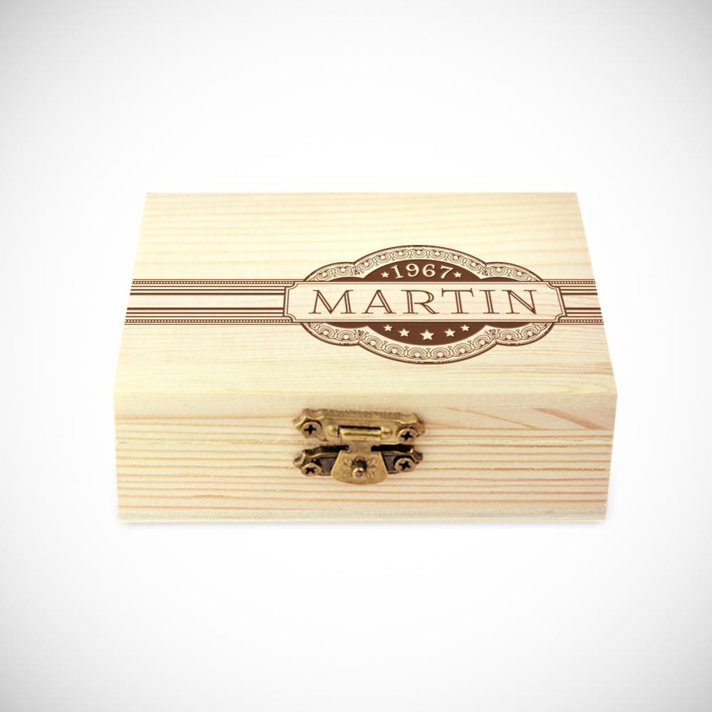 Whiskysteine in edler Holzbox mit Gravur - Banderole