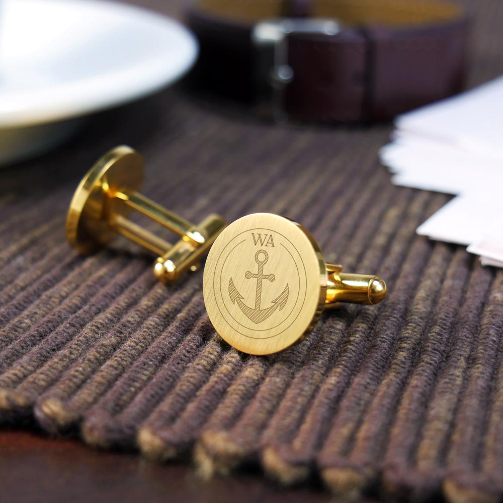 Manschettenknöpfe mit Gravur - Rund - Initialen - Anker - Gold