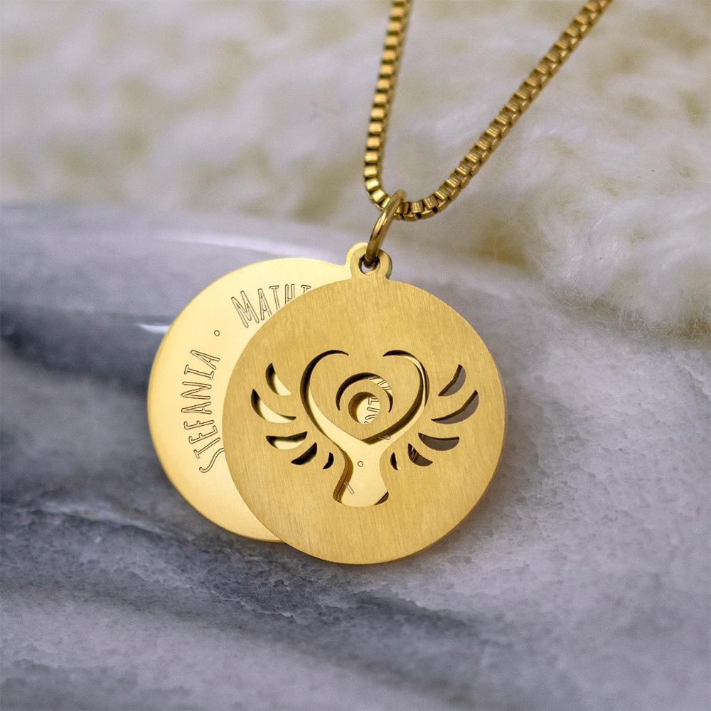 Halskette mit Gravur - Schutzengel und Namen - Gold - Personalisiert