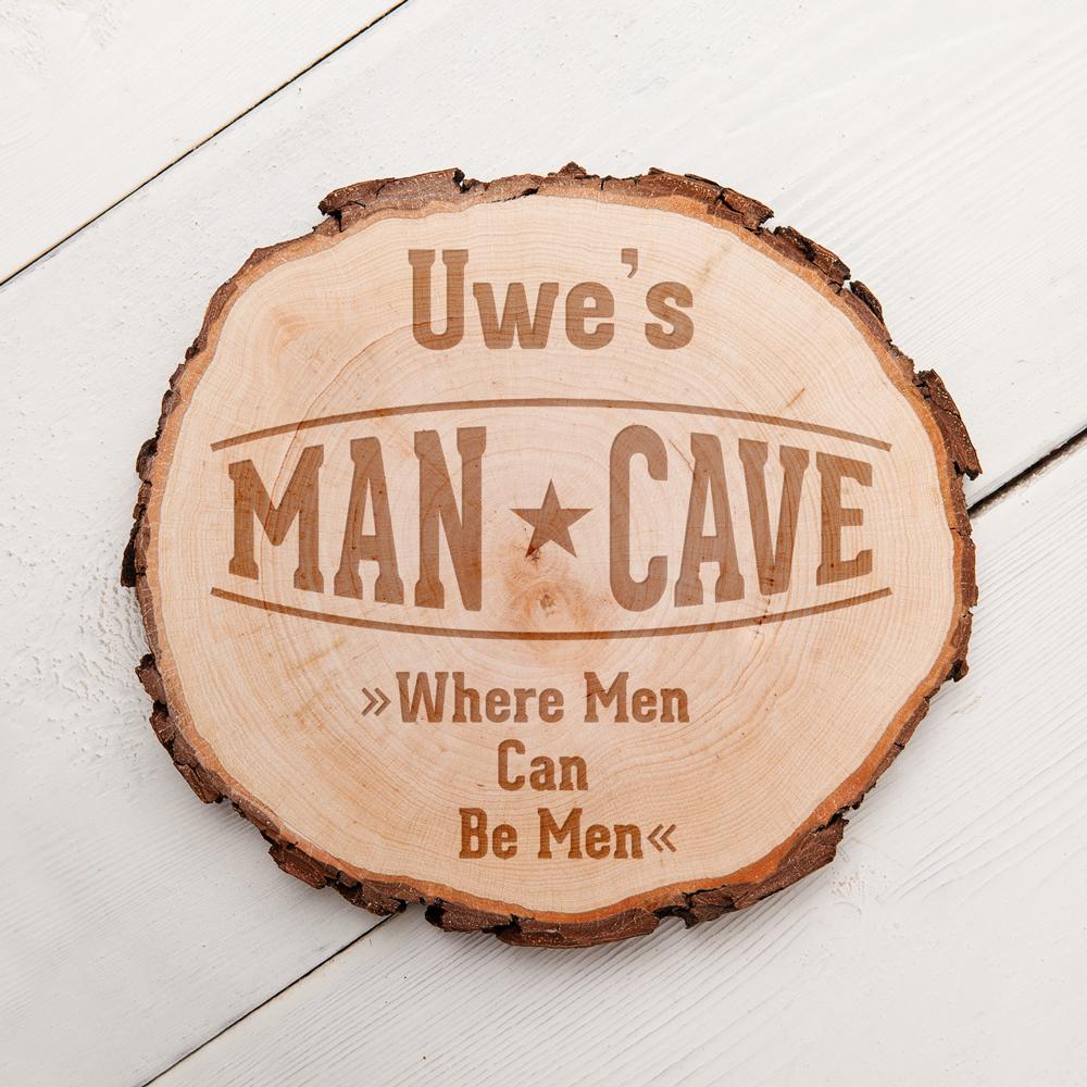 Baumscheibe mit Gravur für Männer - Man Cave